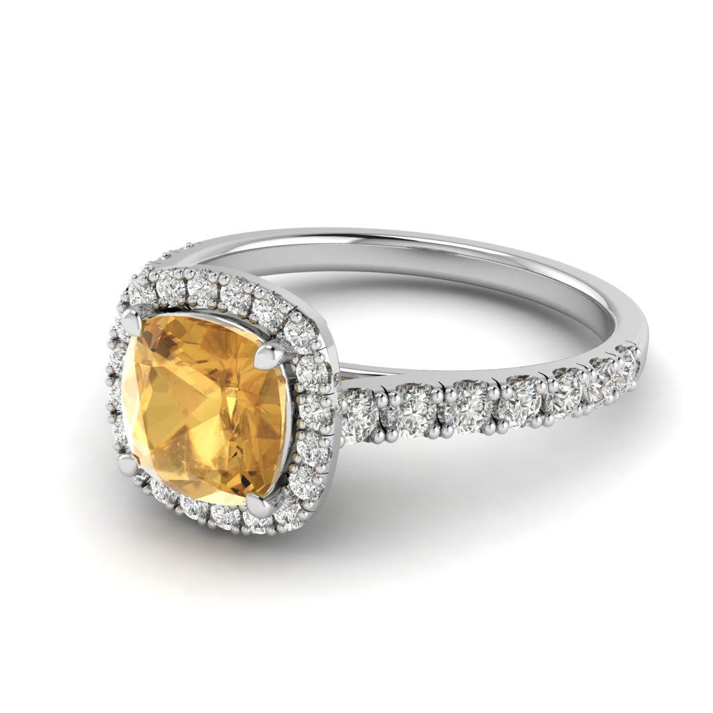 White Gold 6mm Created Yellow Sapphire Cushion Cut Engagement Ring_image2