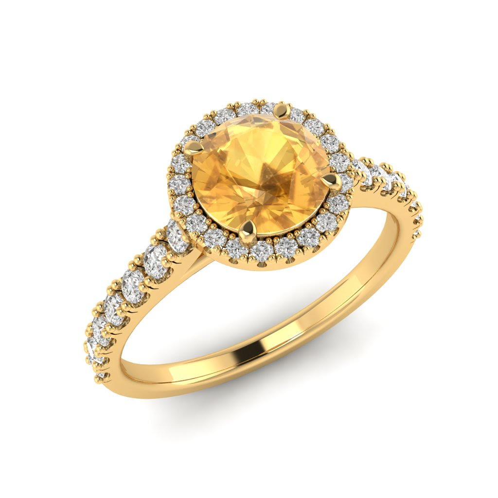 Yellow Gold 6mm Created Yellow Sapphire Brilliant Cut Engagement Ring_image1
