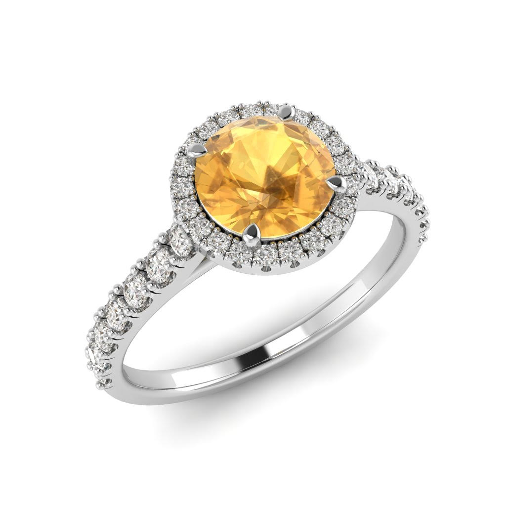 White Gold 6mm Created Yellow Sapphire Brilliant Cut Engagement Ring_image1