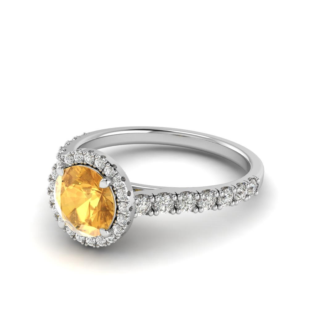 White Gold 6mm Created Yellow Sapphire Brilliant Cut Engagement Ring_image2