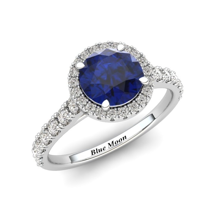 White Gold 6mm Created Blue Sapphire Brilliant Cut Engagement Ring_image1