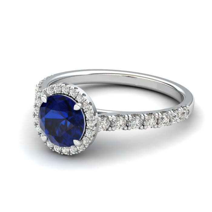 White Gold 6mm Created Blue Sapphire Brilliant Cut Engagement Ring_image2