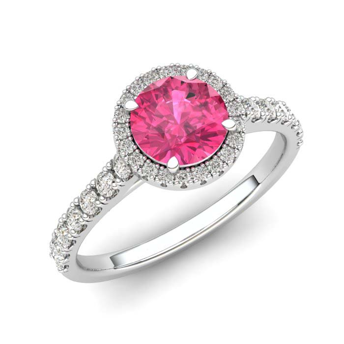 White Gold 6mm Created Pink Sapphire Brilliant Cut Engagement Ring_image1