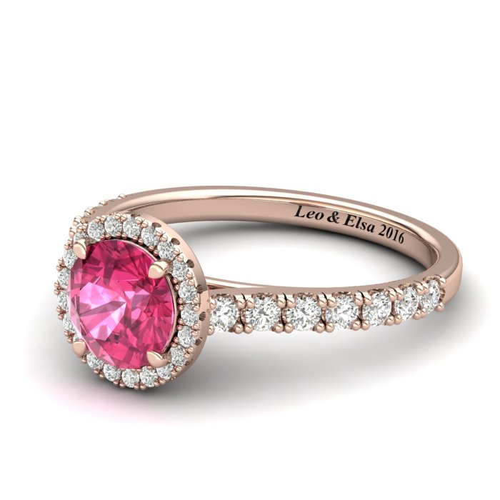 Rose Gold 6mm Created Pink Sapphire Brilliant Cut Engagement Ring_image2