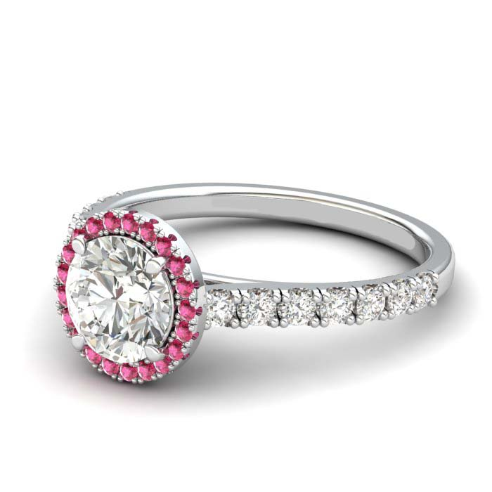 White Gold 6mm Pink Accented Created White Sapphire Brilliant Cut Engagement Ring_image2