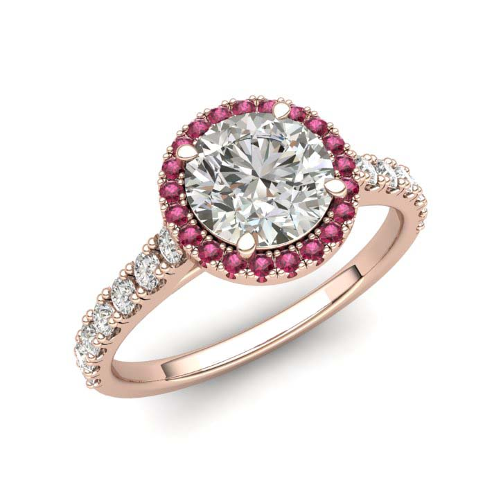 Rose Gold 6mm Pink Accented Created White Sapphire Brilliant Cut Engagement Ring_image1
