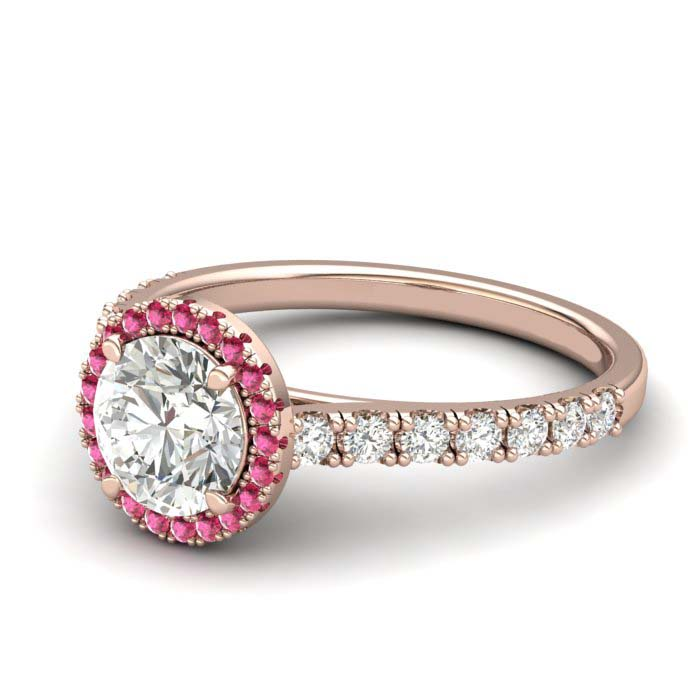Rose Gold 6mm Pink Accented Created White Sapphire Brilliant Cut Engagement Ring_image2