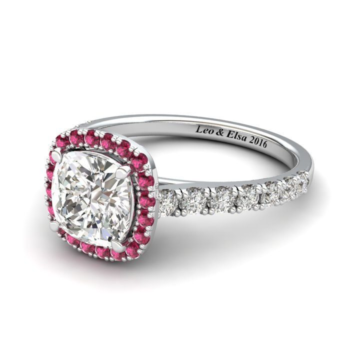 White Gold 6mm Pink Accented Created White Sapphire Cushion Cut Engagement Ring_image2