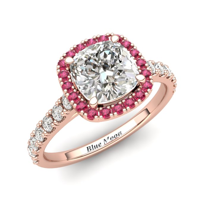 Rose Gold 6mm Pink Accented Created White Diamond Cushion Cut Engagement Ring_image1