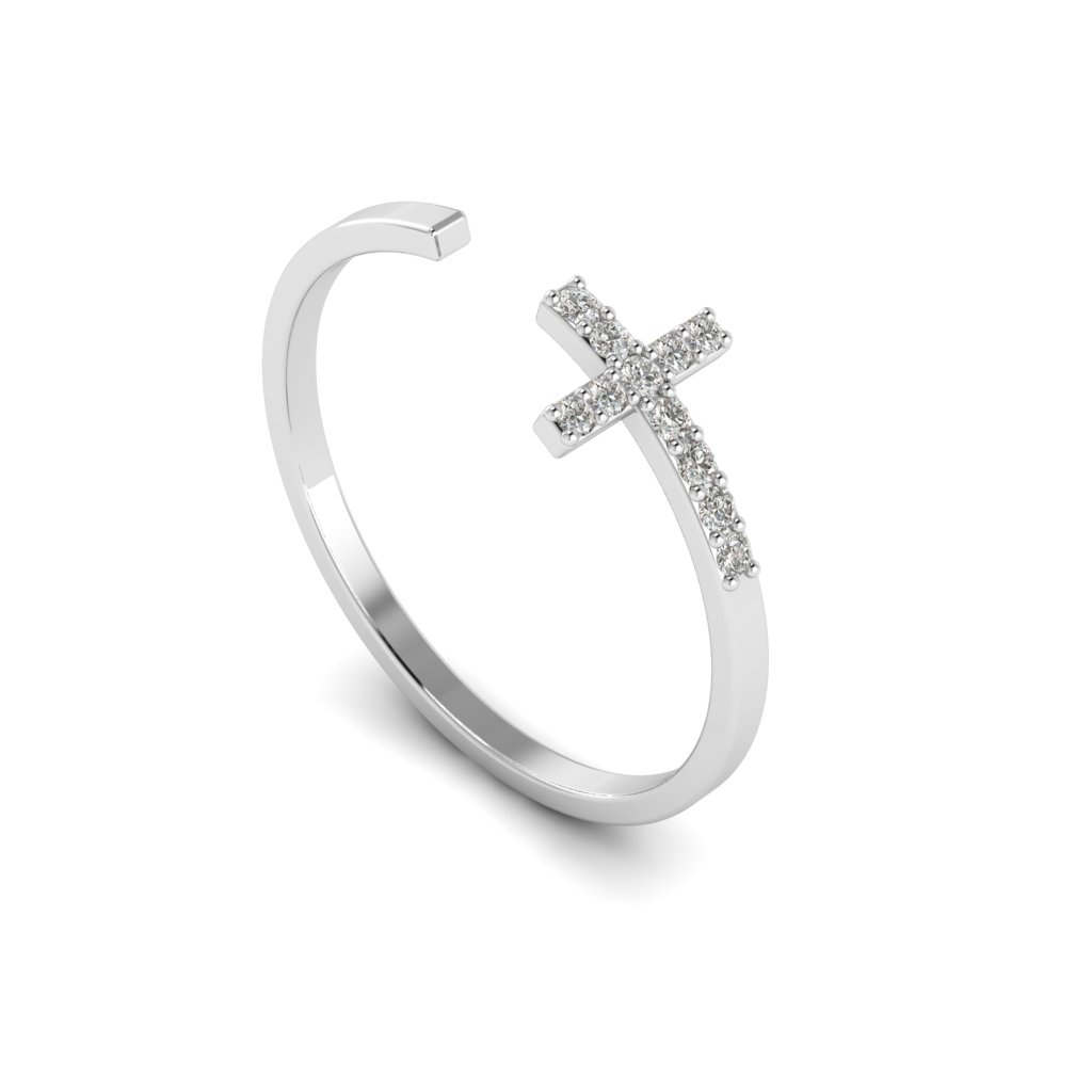 White Gold Luxe Cross Ring with White Stones_image1
