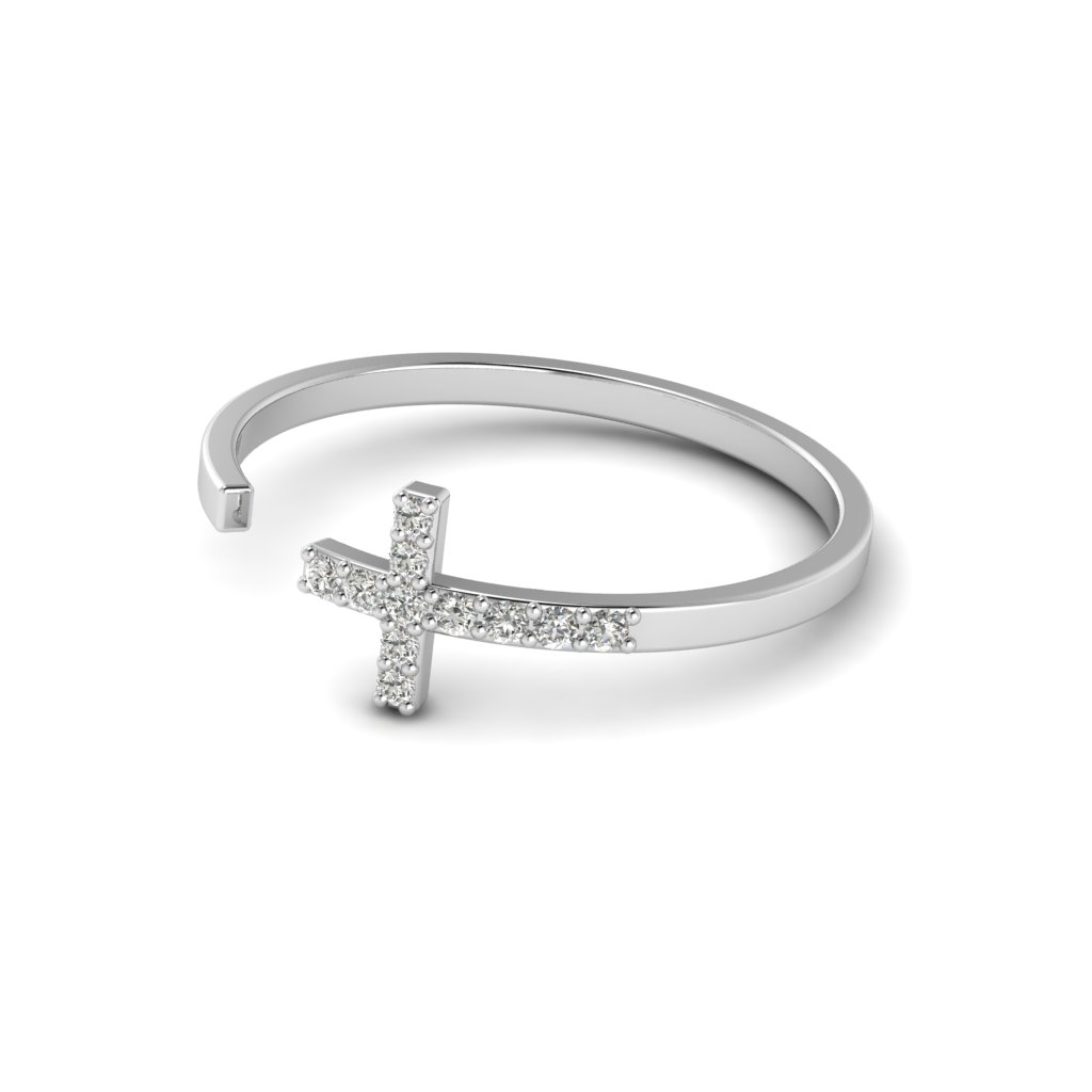 White Gold Luxe Cross Ring with White Stones_image2