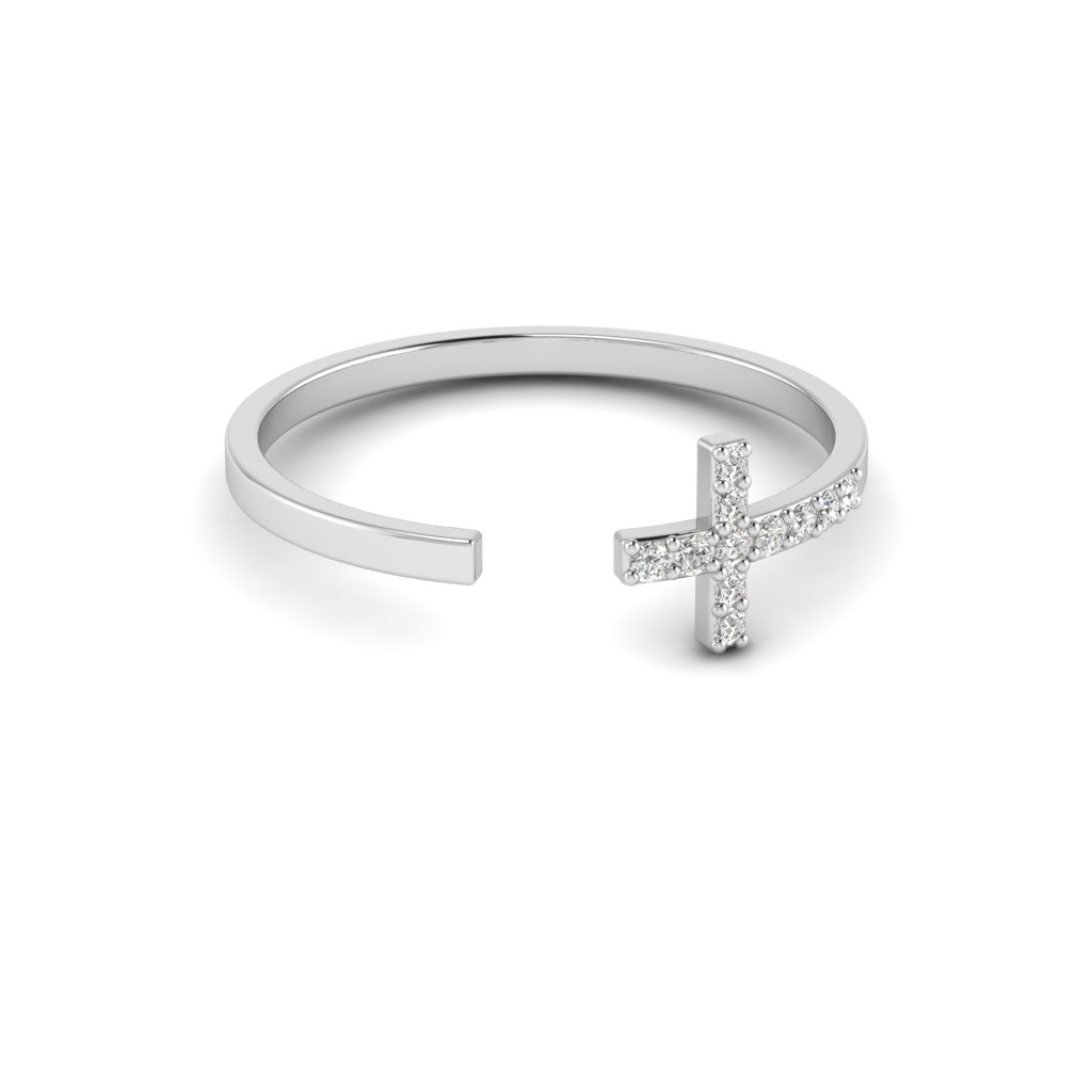 White Gold Luxe Cross Ring with White Stones_image3