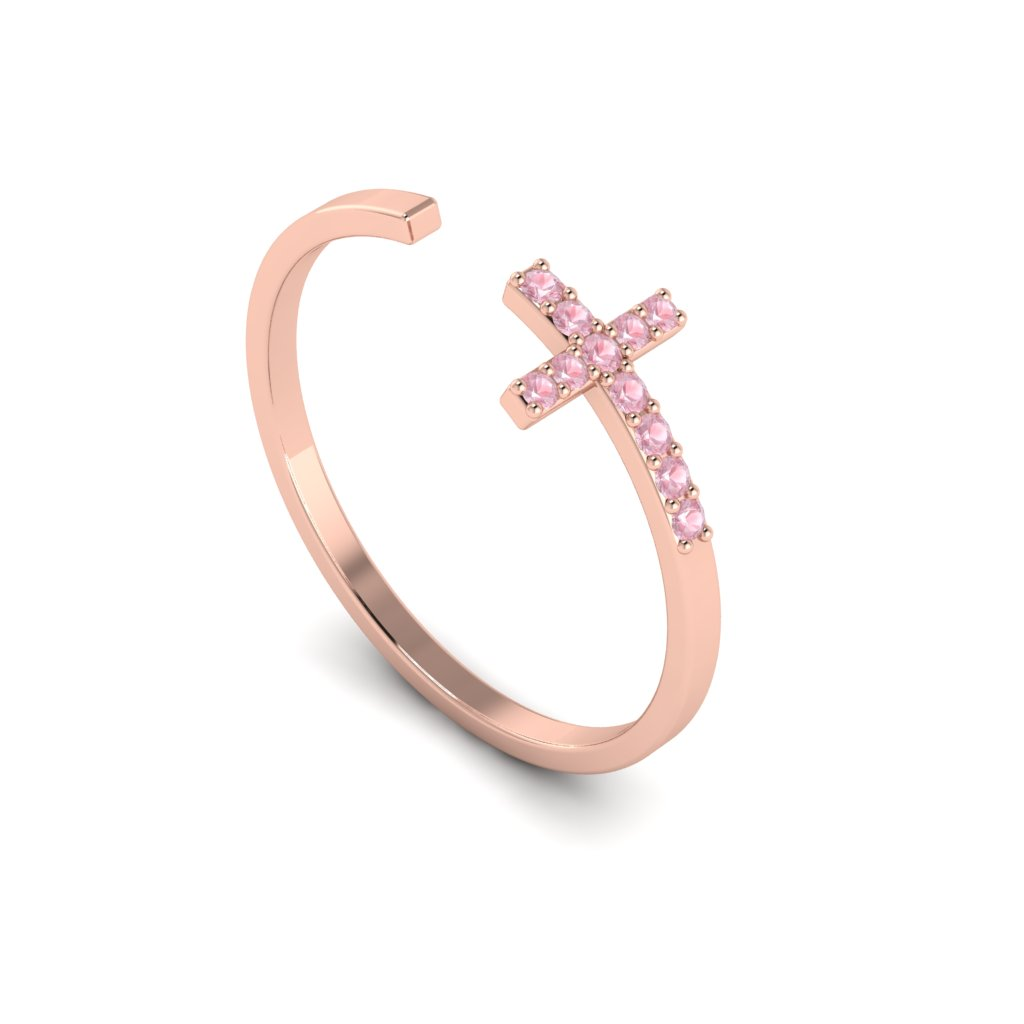 Rose Gold Luxe Cross Ring with Pink Stones_image1