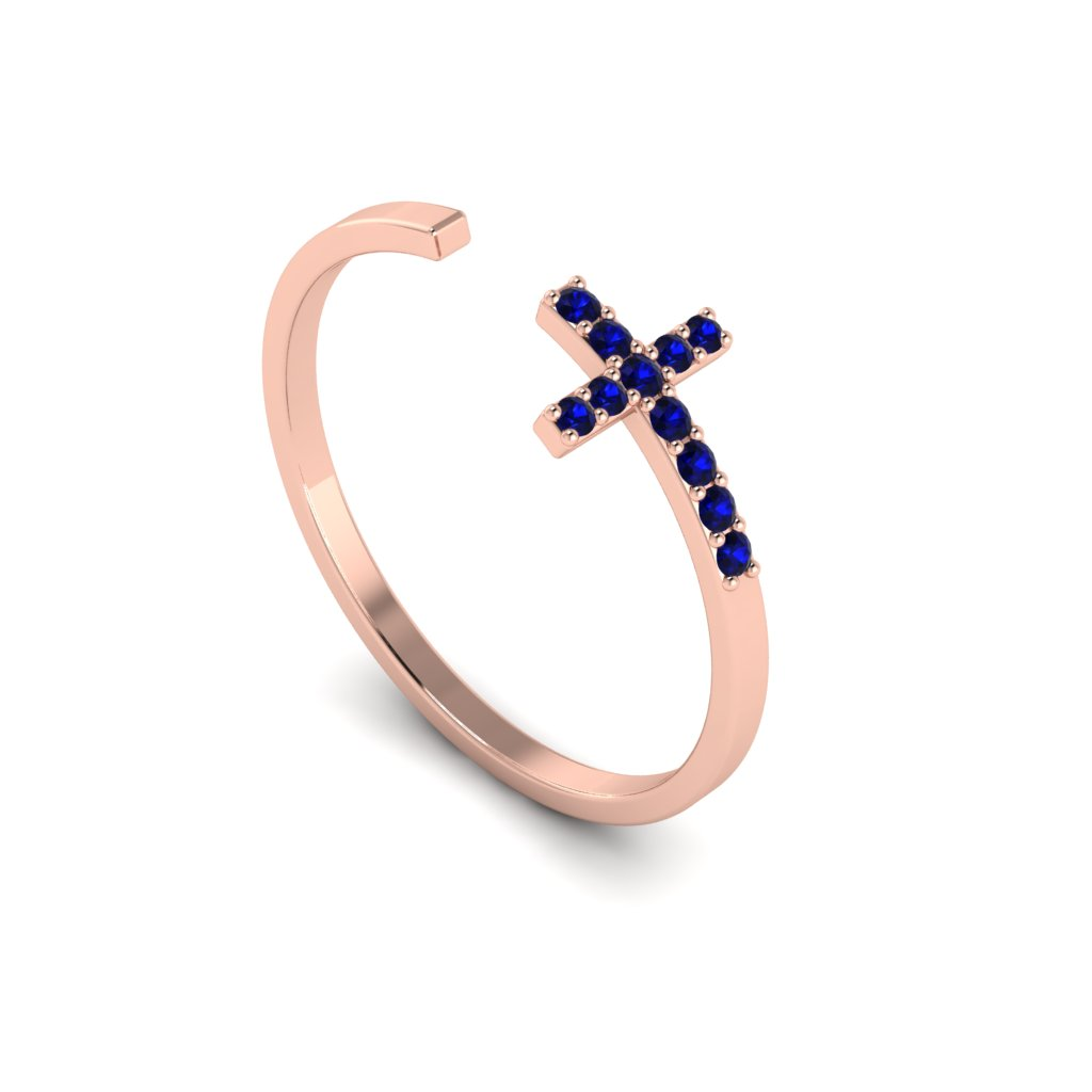 Rose Gold Luxe Cross Ring with Blue Stones_image1