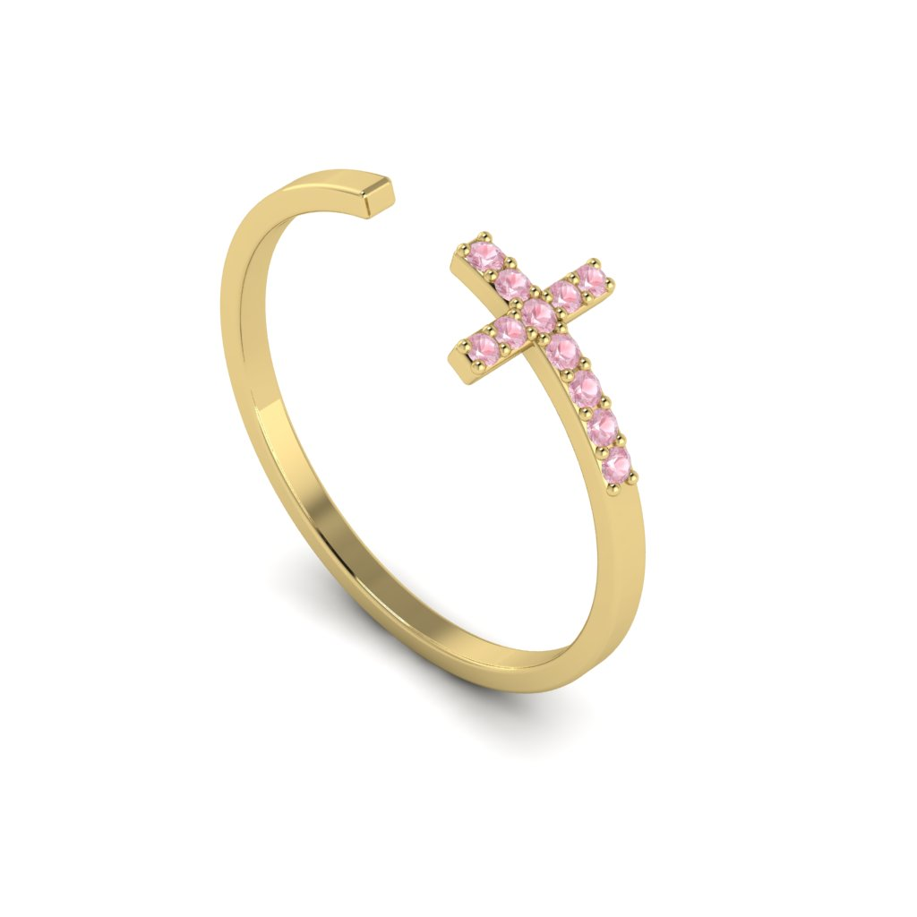 Yellow Gold Luxe Cross Ring with Pink Stones_image1