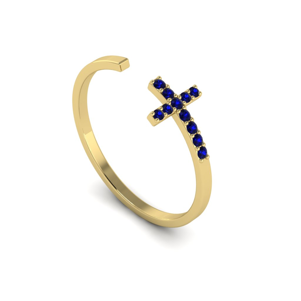Yellow Gold Luxe Cross Ring with Blue Stones
