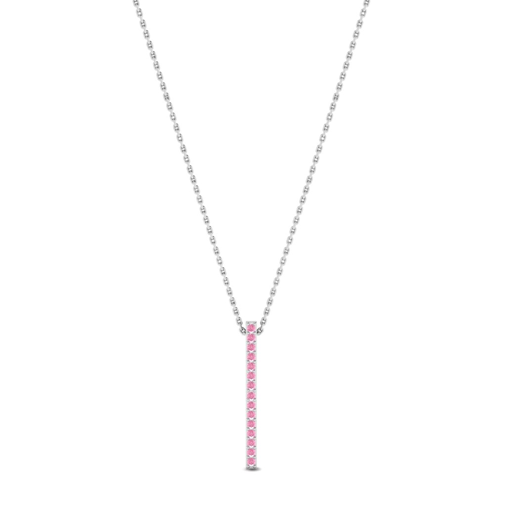 Luxe White Gold Bar Necklace Pendant with Pink Stones_image1
