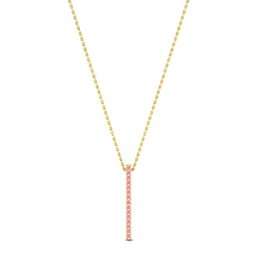 Luxe Yellow Gold Bar Necklace Pendant with Pink Stones_image1