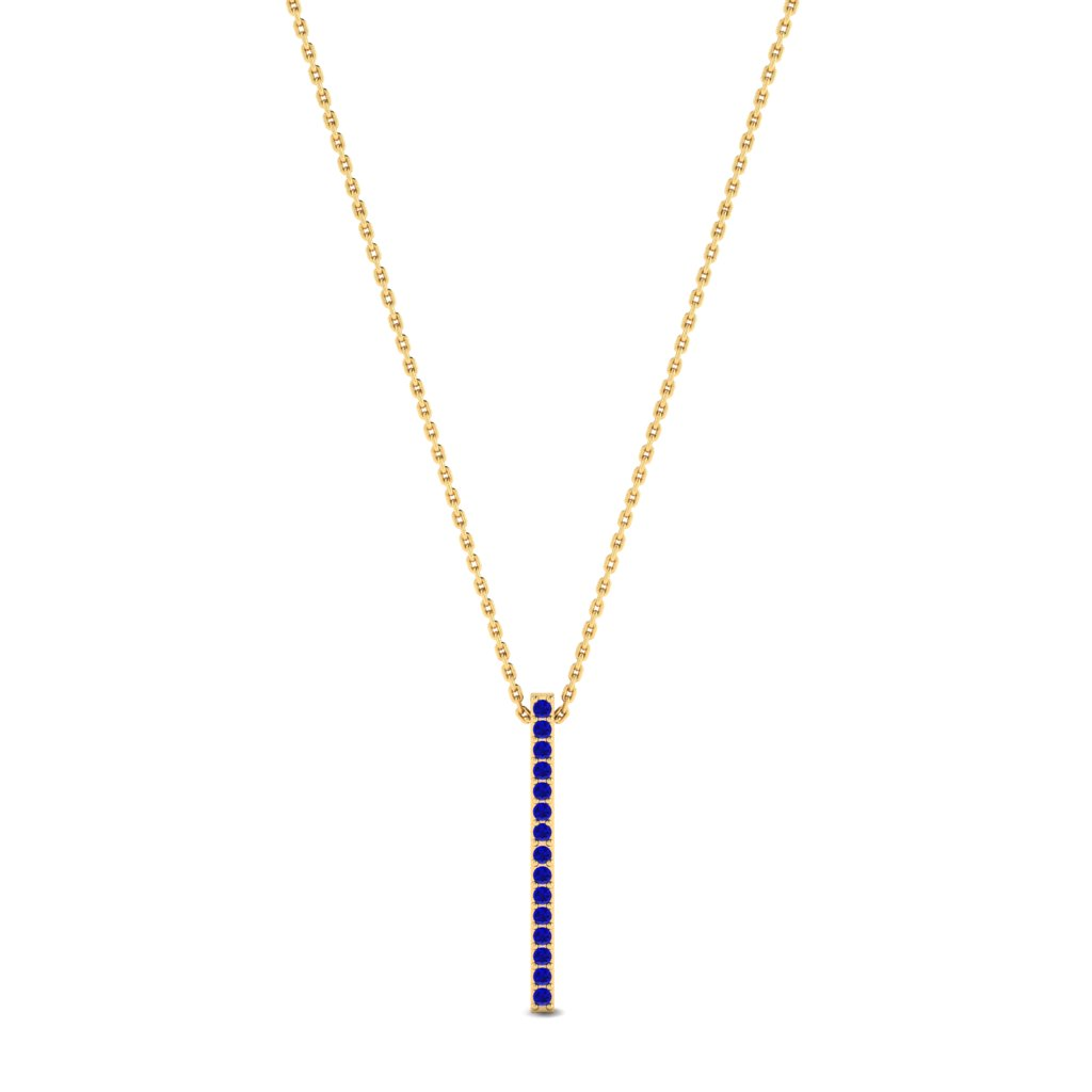 Luxe Yellow Gold Bar Necklace Pendant with Blue Stones_image1
