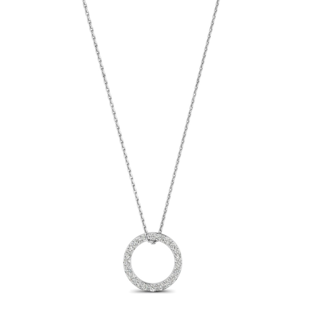 White Gold Luxe Circle Necklace with White Stones_image1