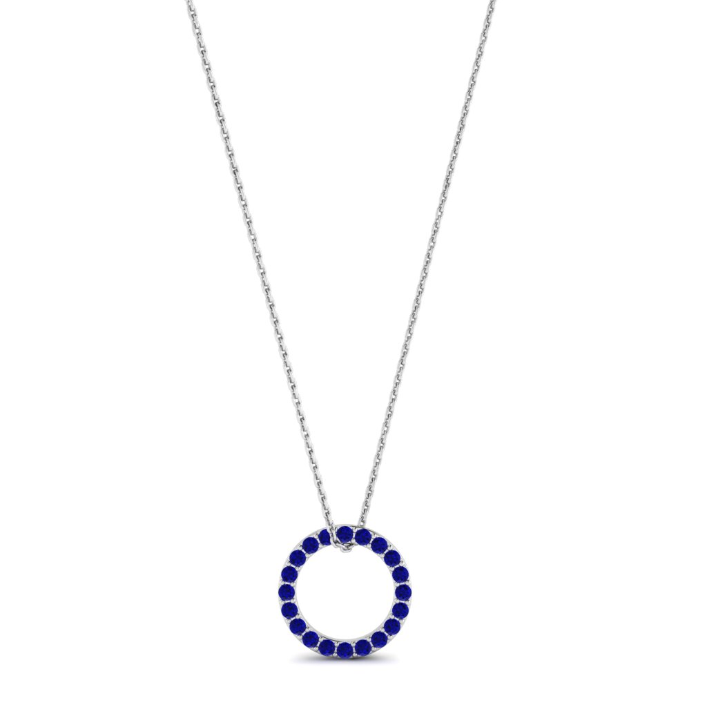 White Gold Luxe Circle Necklace with Blue Stones_image1