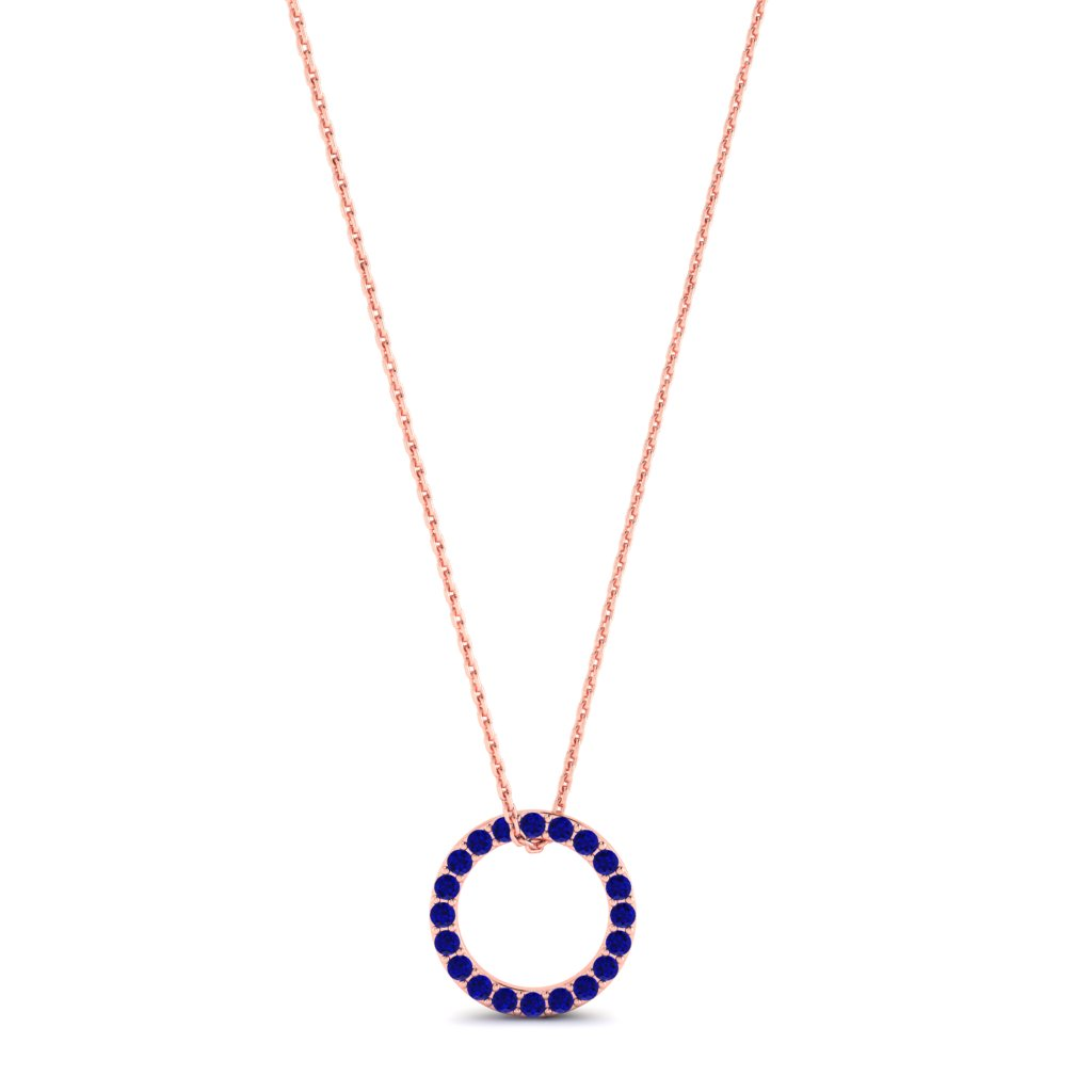 Rose Gold Luxe Circle Necklace with Blue Stones_image1
