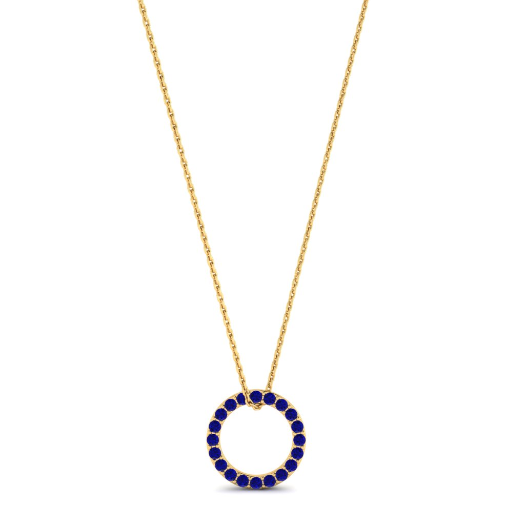 Yellow Gold Luxe Circle Necklace with Blue Stones_image1