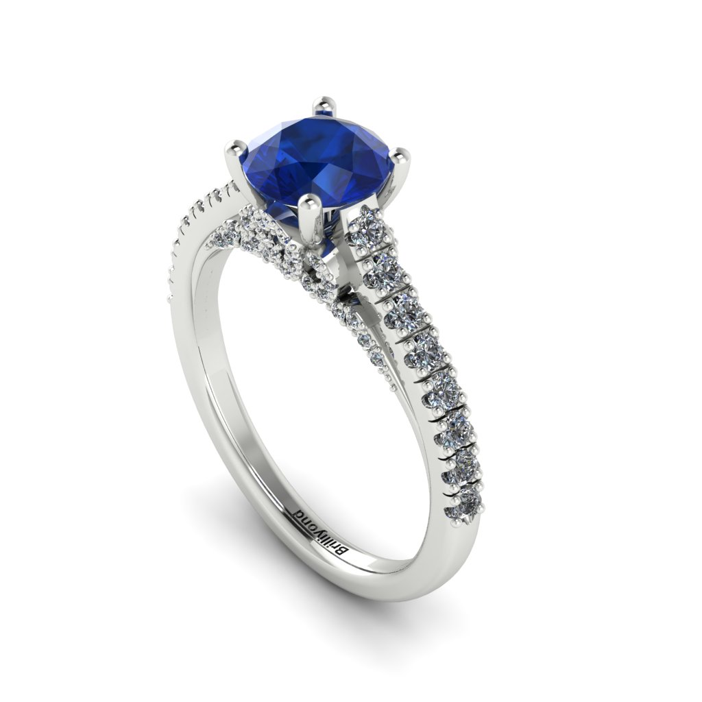 White Gold Brilliant Cut Blue Sapphire Engagement Ring Vera_image3