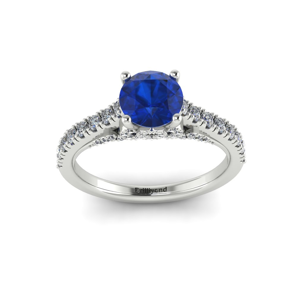 White Gold Brilliant Cut Blue Sapphire Engagement Ring Vera_image4