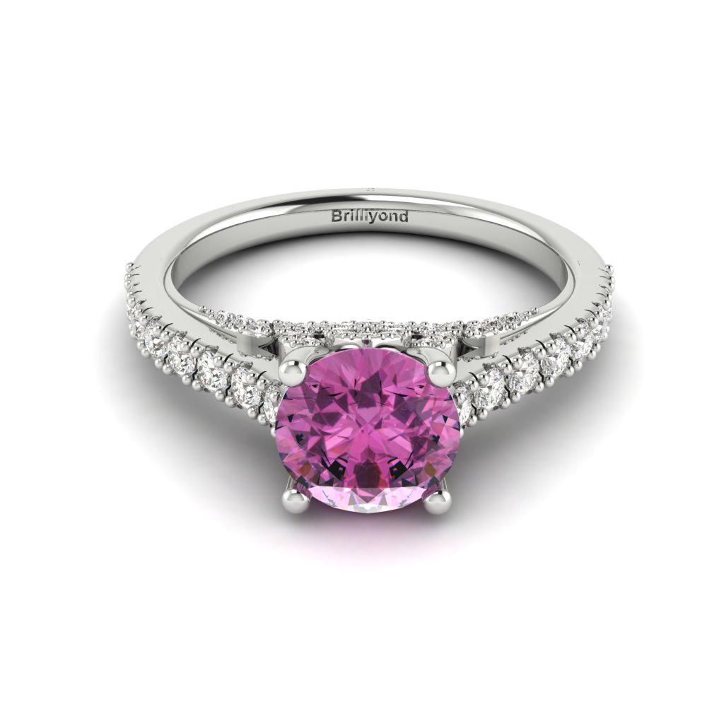 White Gold Brilliant Cut Pink Sapphire Engagement Ring Vera_image1