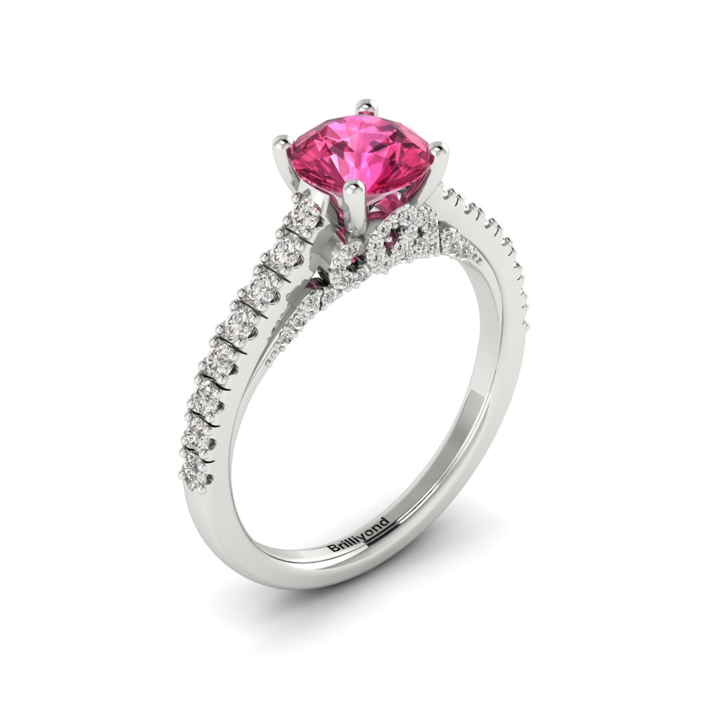 White Gold Brilliant Cut Pink Sapphire Engagement Ring Vera_image2