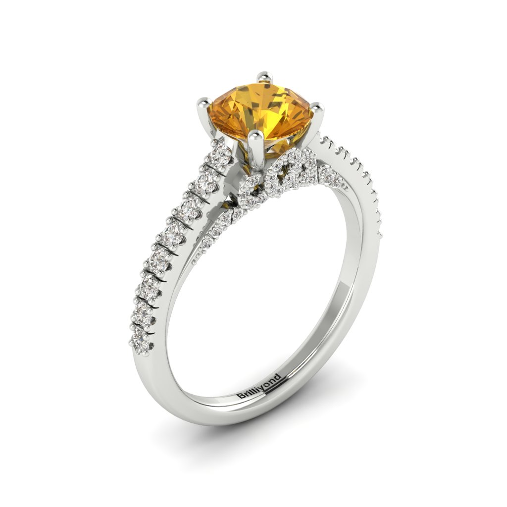White Gold Brilliant Cut Yellow Sapphire Engagement Ring Vera_image1