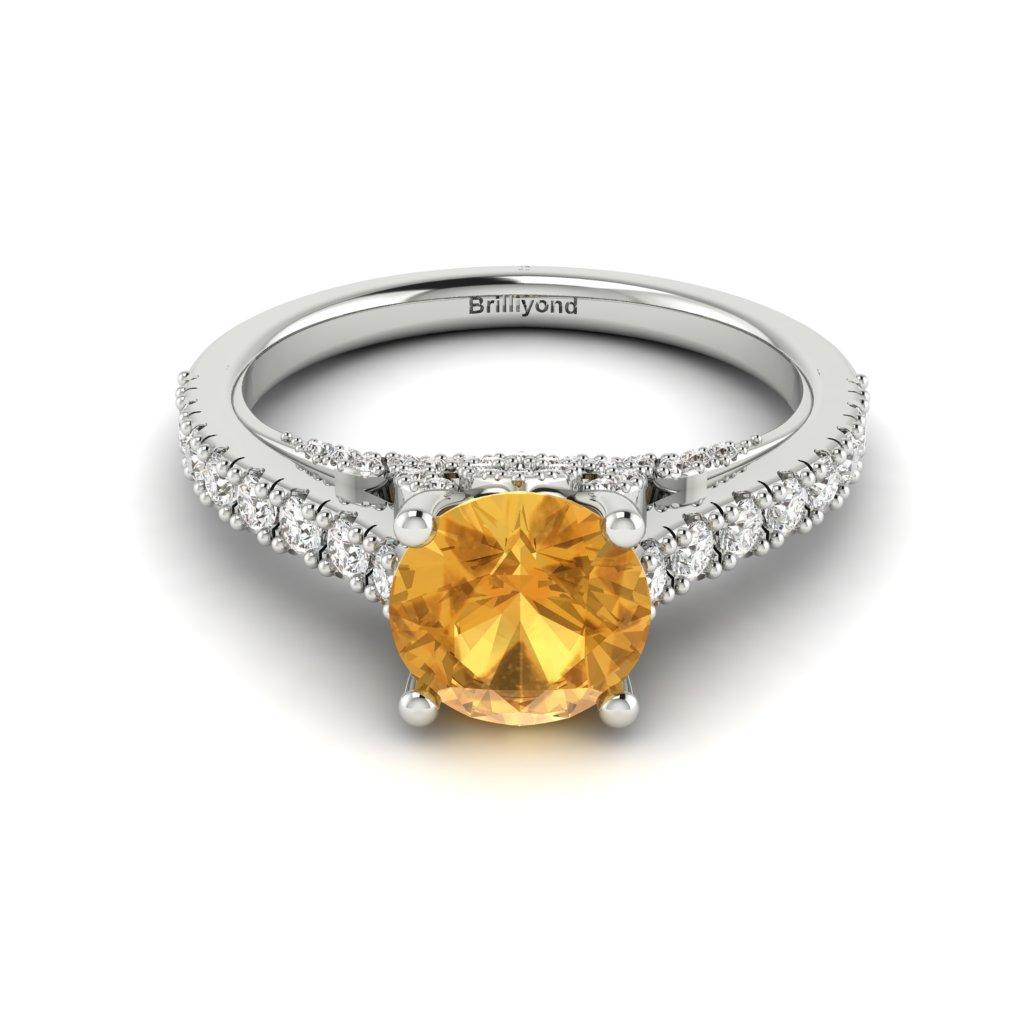 White Gold Brilliant Cut Yellow Sapphire Engagement Ring Vera_image2