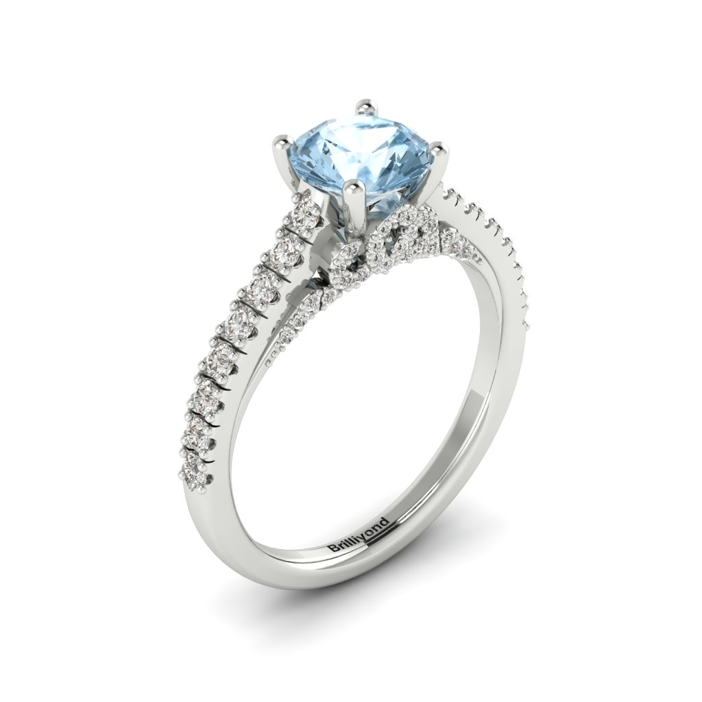 White Gold Brilliant Cut Aquamarine Engagement Ring Vera_image1