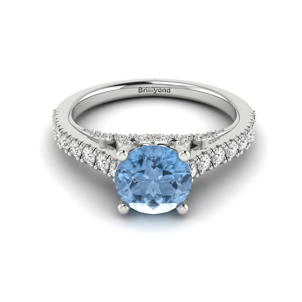 White Gold Brilliant Cut Aquamarine Engagement Ring Vera_image2