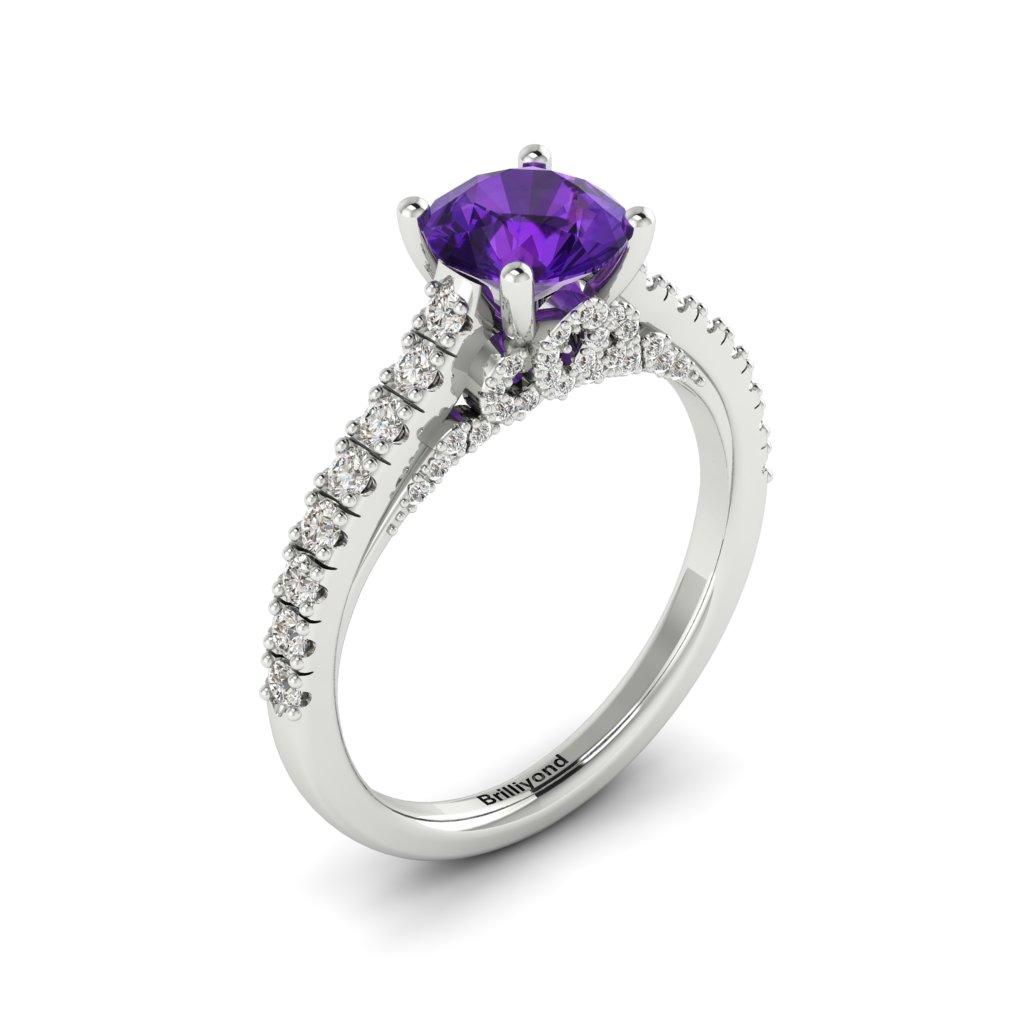 White Gold Brilliant Cut Amethyst Engagement Ring Vera_image2