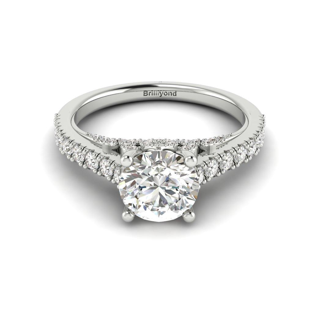 White Gold Brilliant Cut White Sapphire Engagement Ring Vera_image2