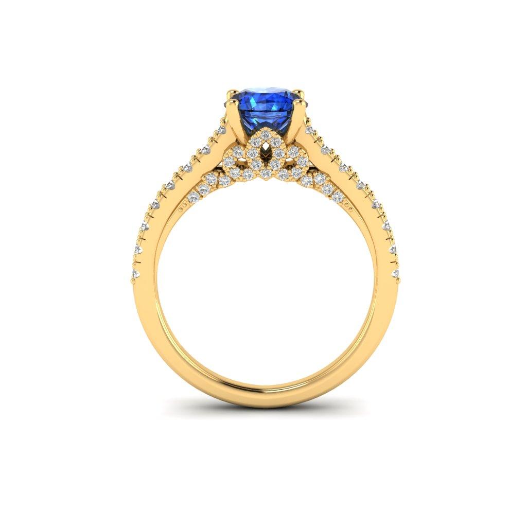 Yellow Gold Brilliant Cut Blue Sapphire Engagement Ring Vera_image1