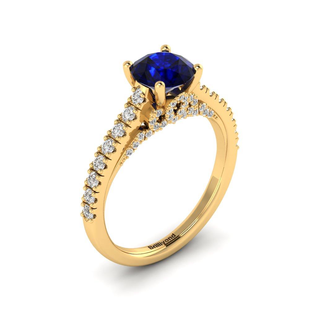Yellow Gold Brilliant Cut Blue Sapphire Engagement Ring Vera_image2