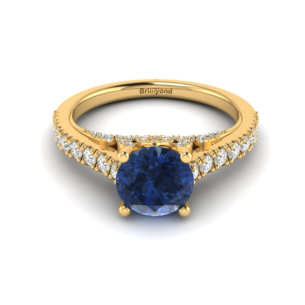 Yellow Gold Brilliant Cut Blue Sapphire Engagement Ring Vera_image3