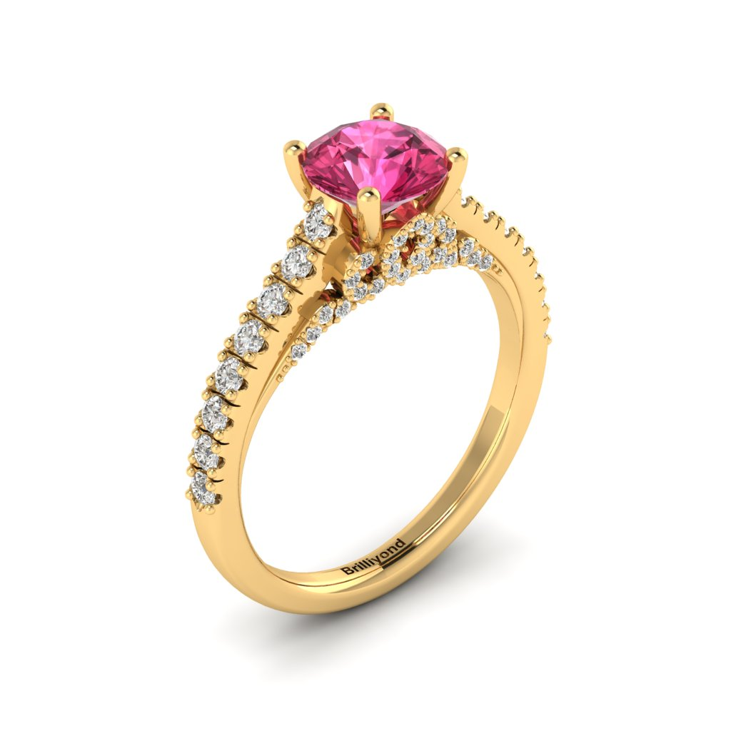 Yellow Gold Brilliant Cut Pink Sapphire Engagement Ring Vera_image1