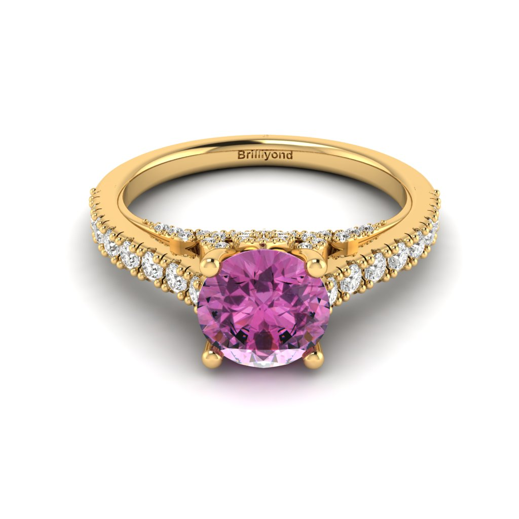 Yellow Gold Brilliant Cut Pink Sapphire Engagement Ring Vera_image2