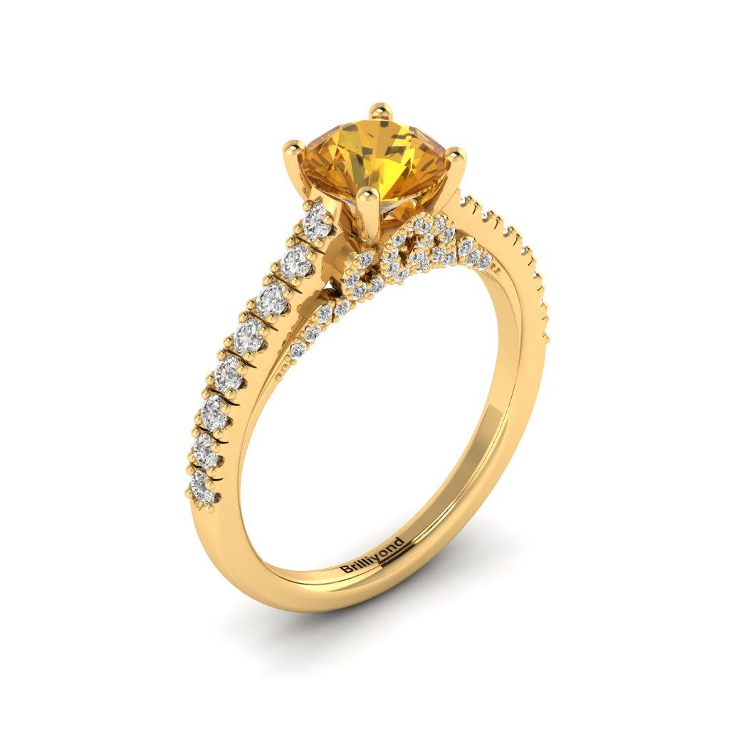 Yellow Gold Brilliant Cut Yellow Sapphire Engagement Ring Vera_image2