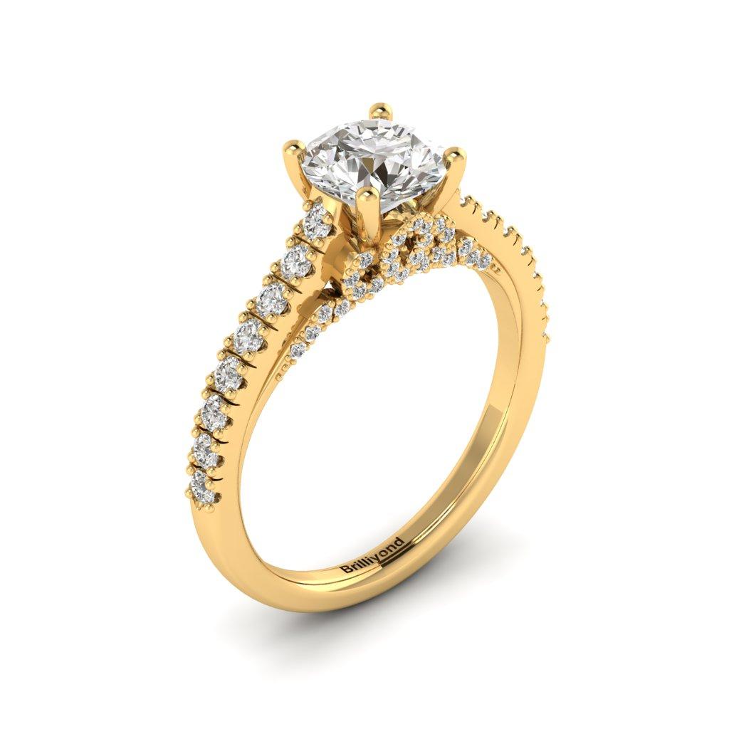 Yellow Gold Brilliant Cut Diamond Engagement Ring Vera_image1
