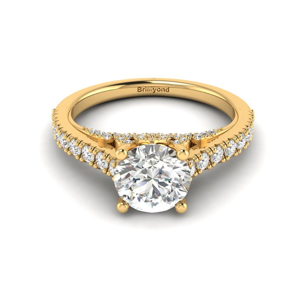 Yellow Gold Brilliant Cut Diamond Engagement Ring Vera_image2