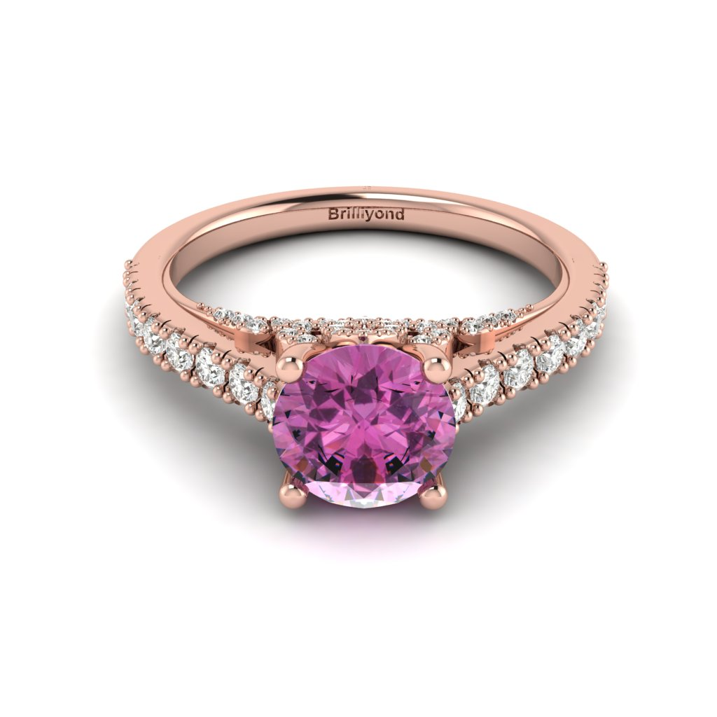 Rose Gold Brilliant Cut Pink Sapphire Engagement Ring Vera_image1