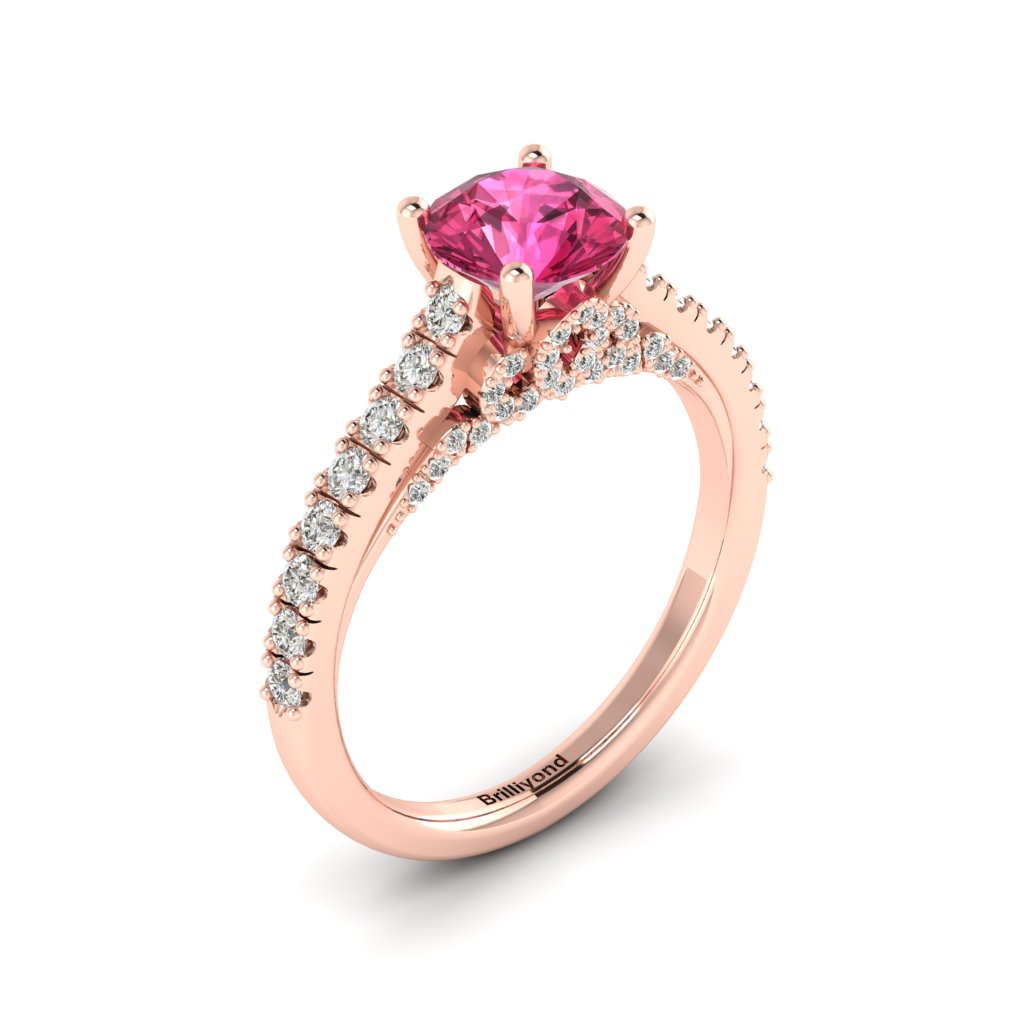 Rose Gold Brilliant Cut Pink Sapphire Engagement Ring Vera_image2