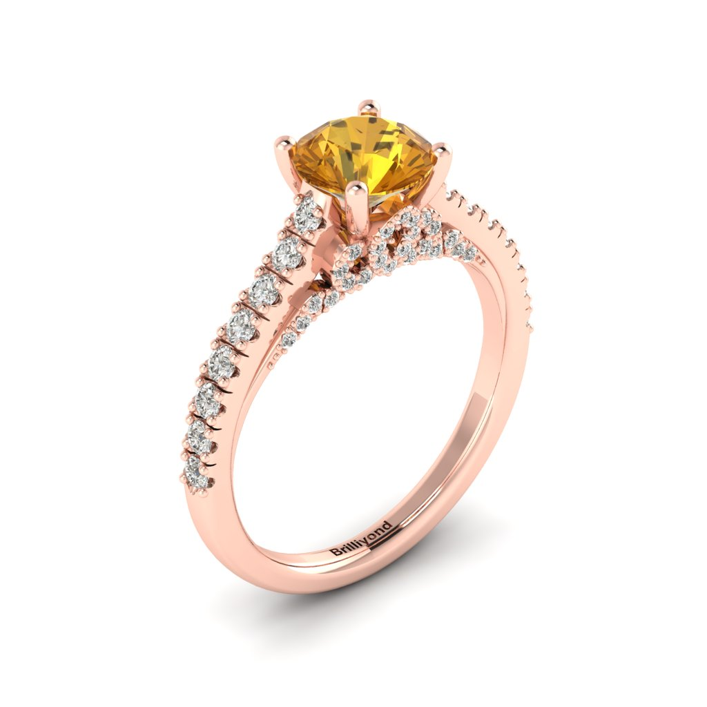 Rose Gold Brilliant Cut Yellow Sapphire Engagement Ring Vera_image1