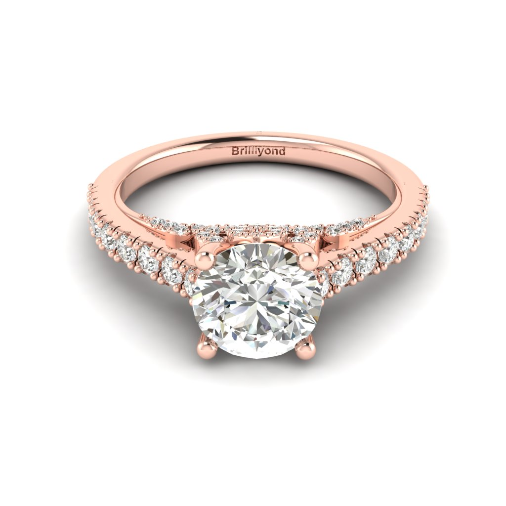 Rose Gold Brilliant Cut White Sapphire Engagement Ring Vera_image2