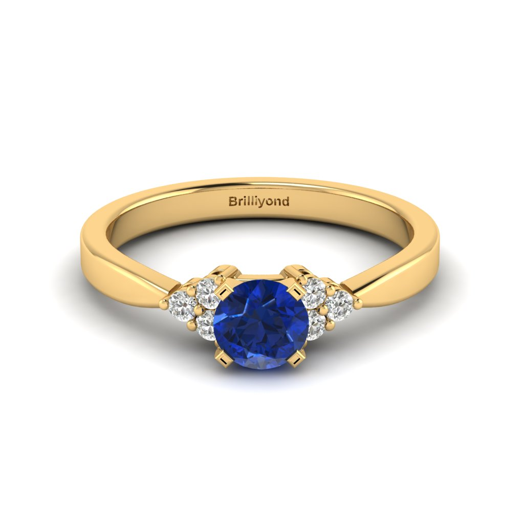 Yellow Gold Brilliant Cut Blue Sapphire Engagement Ring Jasmine_image1